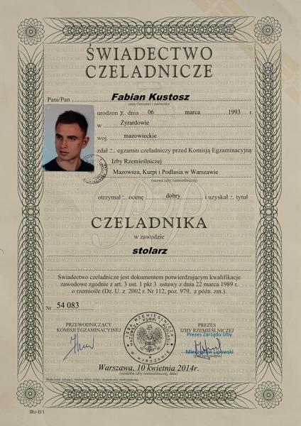 Dyplom Czeladniczy uzyskuje Fabiana Kustosz