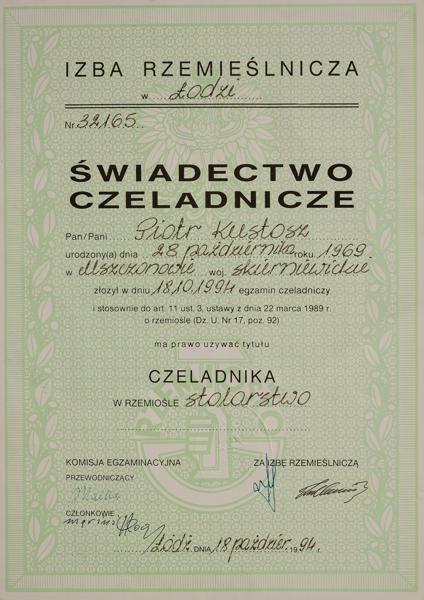 Dyplom Czeladniczy Piotra Kustosza