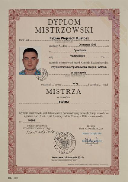 Dyplom Mistrzowski uzyskuje Fabian Kustosz