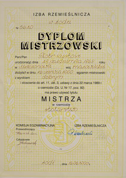 Dyplom Mistrzowski Piotra Kustosza